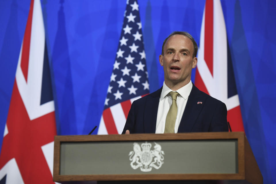 Britain's Foreign Secretary Dominic Raab speaks during a joint press conference with US Secretary of State Antony Blinken, not pictured, at Downing Street in London, Monday, May 3, 2021. (Chris J Ratcliffe/Pool Photo via AP)