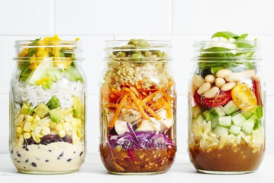 """<p>Layer up crunchy ingredients with your dressing on the bottom for a fresh take on lunch.</p><p><em><a href=""""https://www.goodhousekeeping.com/food-recipes/a41048/sesame-chicken-slaw-mason-jar-salad-recipe/"""" rel=""""nofollow noopener"""" target=""""_blank"""" data-ylk=""""slk:Get the recipe for Sesame Chicken Slaw Mason Jar Salad»"""" class=""""link rapid-noclick-resp"""">Get the recipe for Sesame Chicken Slaw Mason Jar Salad»</a></em></p><p><strong>RELATED:</strong> <a href=""""https://www.goodhousekeeping.com/food-recipes/g29487810/mason-jar-salads/"""" rel=""""nofollow noopener"""" target=""""_blank"""" data-ylk=""""slk:7 Mason Jar Salad Recipes That Will Make Your Coworkers Jealous"""" class=""""link rapid-noclick-resp"""">7 Mason Jar Salad Recipes That Will Make Your Coworkers Jealous</a></p>"""