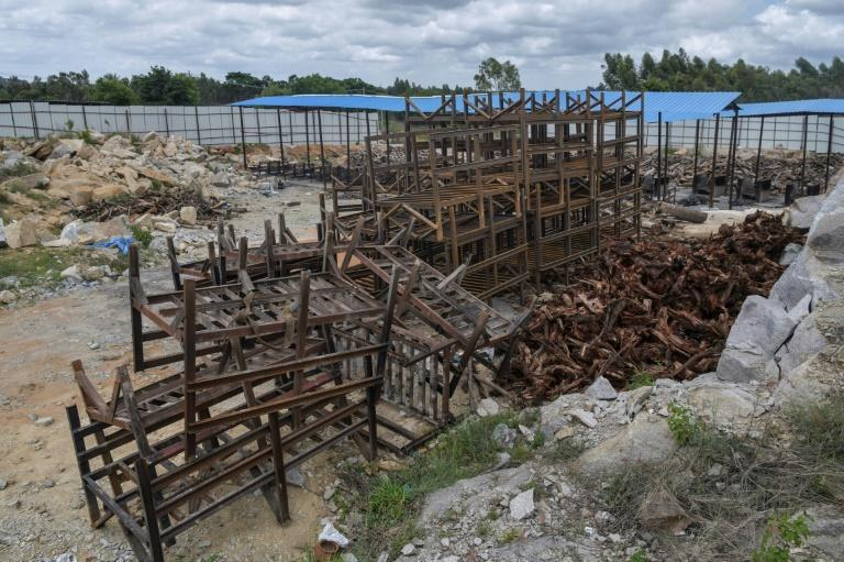 Metal cremation frames are going unused near Bangalore as coronavirus deaths appear to have peaked