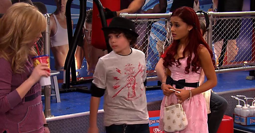 "Dice (Cameron Ocasio) and Cat Valentine (Ariana Grande) in the ""Sam & Cat"" episode, ""#NewGoat."""