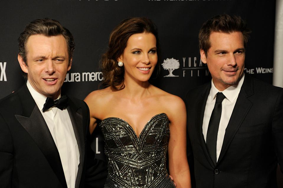 From left, Michael Sheen, Kate Beckinsale and Len Wiseman arrive at The Weinstein Company's Golden Globes after party at the Beverly Hilton Hotel on Sunday, Jan. 12, 2014, in Beverly Hills, Calif. (Photo by Chris Pizzello/Invision/AP)