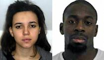 Hayat Boumeddiene (L) and Amedy Coulibaly (R) are shown in images released on January 9, 2015 by the French police