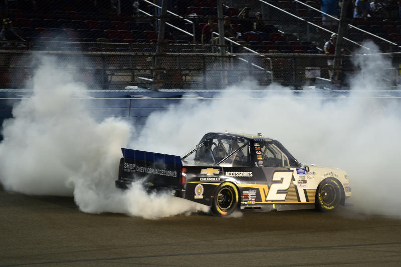 AVONDALE, ARIZONA - NOVEMBER 06: Sheldon Creed, driver of the #2 Chevy Accessories/Trench Shoring Chevrolet, celebrates with a burnout after winning the NASCAR Gander RV & Outdoors Truck Series Lucas Oil 150 at Phoenix Raceway on November 06, 2020 in Avondale, Arizona. (Photo by Jared C. Tilton/Getty Images)