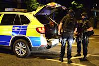 """<p>Armed police on Borough High Street as police have confirmed that incidents at London Bridge and Borough Market are """"terrorist incidents"""", following reports of a vehicle ploughing into pedestrians on a bridge and stabbings. Dominic Lipinski/PA Wire </p>"""