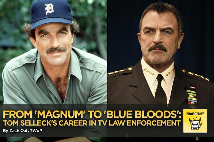 "Tom Selleck is famous for many things — ""Three Men and a Baby,"" his role on ""Friends,"" his timeless mustache — but in general, he's known for playing two types of characters: cowboys and detectives. Ironically, he doesn't seem to have ever played a sheriff, but in the new fall TV series ""<a href=""/blue-bloods/show/46570"">Blue Bloods</a>,"" he plays an NYPD police chief with three children who are also in law enforcement. It seems like a natural fit for the gruff authority figure, but mostly, it's a great next step in his career of playing crime fighters, whether government-sponsored or independently licensed. Here are some of his best cop and detective roles."