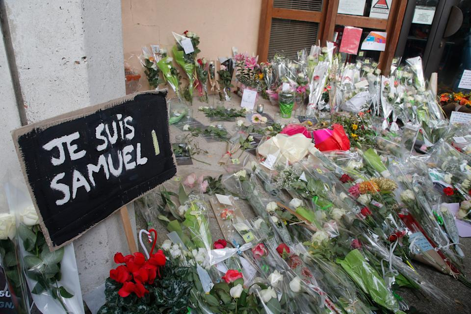 Tributes to slain history teacher Samuel Paty in Conflans-Sainte-Honorine, northwest of Paris, in October 2020AP
