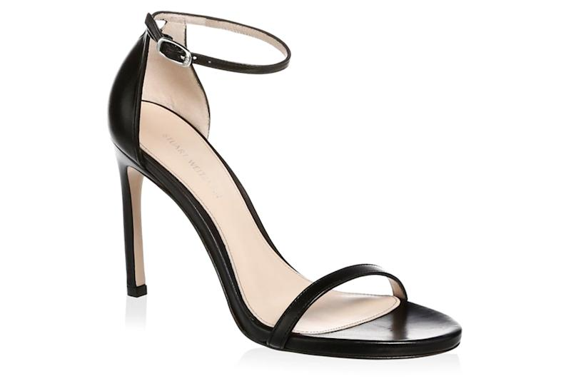 stuart weitzman, black thin strap sandals