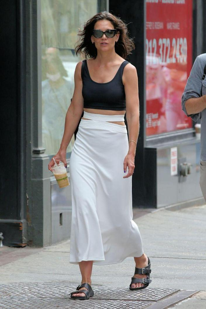 Katie Holmes steps out and about in New York, July 25. - Credit: Christopher Peterson/Splash News