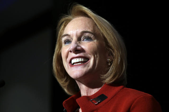 Jenny Durkan addresses supporters at an election night party Tuesday in Seattle. (Photo: Elaine Thompson/AP)