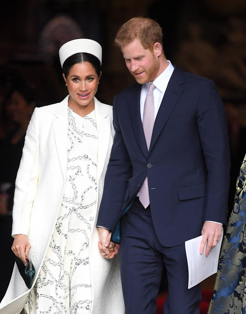 LONDON, ENGLAND - MARCH 11: Meghan, Duchess of Sussex and Prince Harry, Duke of Sussex attend the Commonwealth Day service at Westminster Abbey on March 11, 2019 in London, England. (Photo by Karwai Tang/WireImage)