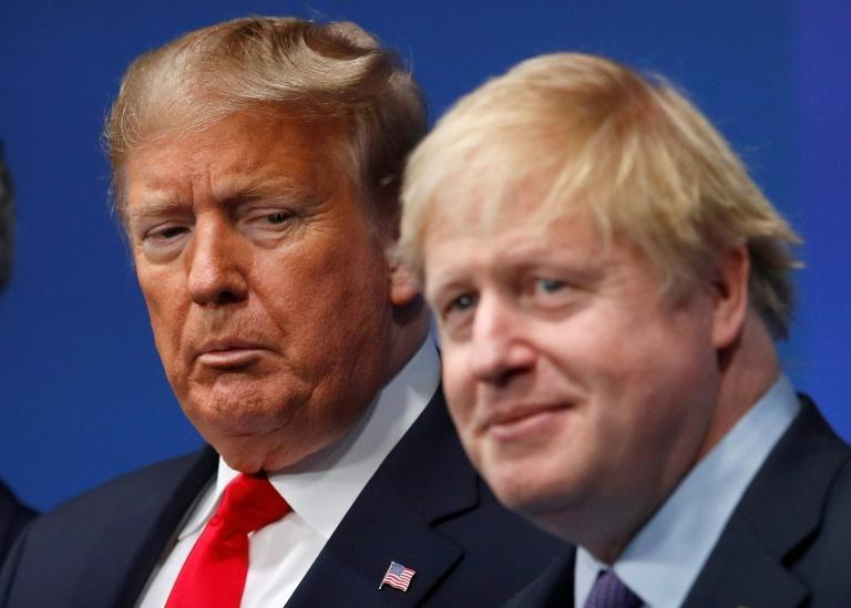 Britain's Prime Minister Boris Johnson welcomes US President Donald Trump, a close ally, to a NATO summit in Watford, England in December 2019