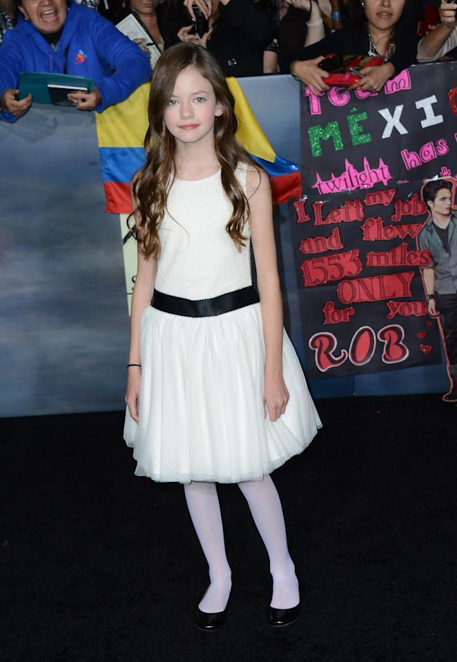 "LOS ANGELES, CA - NOVEMBER 12:  Actress Mackenzie Foy arrives at the premiere of Summit Entertainment's ""The Twilight Saga: Breaking Dawn Part 2"" at Nokia Theatre L.A. Live on November 12, 2012 in Los Angeles, California.  (Photo by Michael Buckner/Getty Images)"