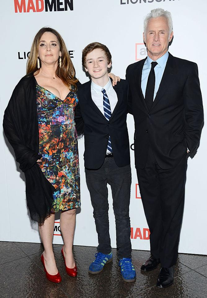 "Talia Balsam, Harry Slattery, and John Slattery arrive at the Premiere of AMC's ""Mad Men"" Season 6 at DGA Theater on March 20, 2013 in Los Angeles, California."