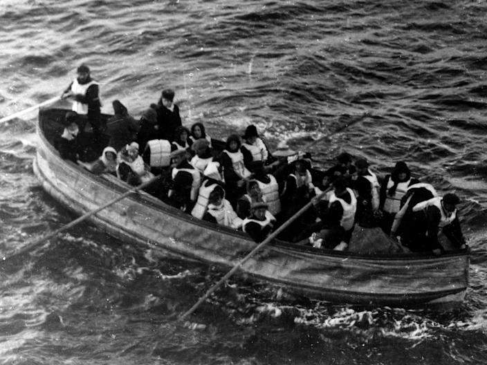 """Survivors of the RMS Titanic in one of the ship's collapsible lifeboats, just before being picked up by the Carpathia, April 15, 1912. <p class=""""copyright""""><a href=""""https://www.gettyimages.com/detail/news-photo/survivors-of-the-rms-titanic-in-one-of-her-collapsible-news-photo/188006961?adppopup=true"""" rel=""""nofollow noopener"""" target=""""_blank"""" data-ylk=""""slk:Universal History Archive/Getty Images"""" class=""""link rapid-noclick-resp"""">Universal History Archive/Getty Images</a></p>"""