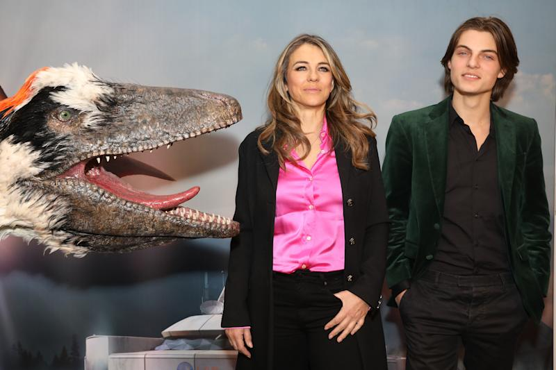 LONDON, ENGLAND - FEBRUARY 13: Elizabeth Hurley (L) and Damian Hurley attend the launch of Dinosaurs in the Wild at Greenwich Peninsula on February 13, 2018 in London, England. (Photo by David M. Benett/Dave Benett/Getty Images for Dinosaurs in the Wild)