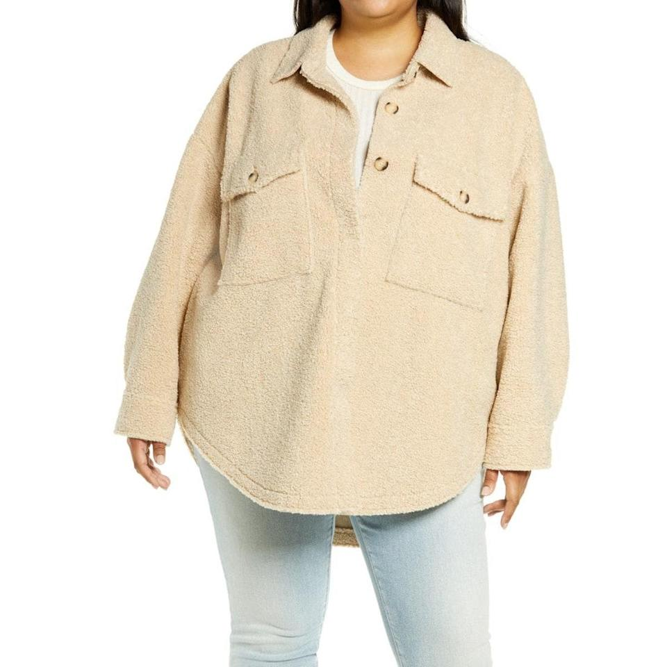"""Already have a faux-fur jacket in your closet? Opt for this fleece shirt instead. It's the perfect transitional piece for staying warm without being overwhelmed by tons of material. $169, Nordstrom. <a href=""""https://www.nordstrom.com/s/good-american-contour-faux-shearling-jacket-plus-size/6295763"""" rel=""""nofollow noopener"""" target=""""_blank"""" data-ylk=""""slk:Get it now!"""" class=""""link rapid-noclick-resp"""">Get it now!</a>"""