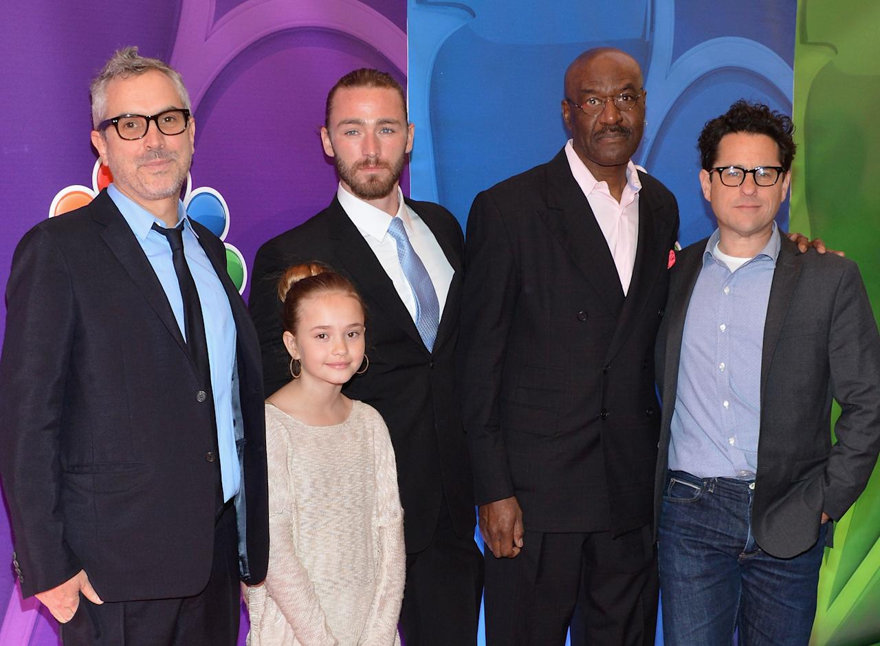 NEW YORK, NY - MAY 13:  (L-R) Director Alfonso Cuaron, actors Johnny Sequoyah, Jake McLaughlin, Delroy Lindo and director/producer J.J. Abrams attend 2013 NBC Upfront Presentation Red Carpet Event at Radio City Music Hall on May 13, 2013 in New York City.  (Photo by Slaven Vlasic/Getty Images)