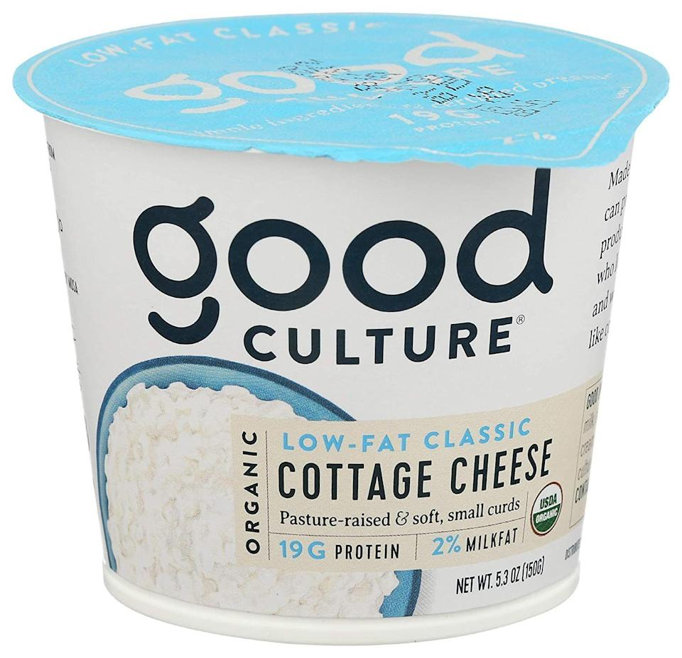 """<p><strong>Good Culture </strong></p><p><strong>$1.99</strong></p><p><a href=""""https://www.amazon.com/Good-Culture-Organic-Cottage-Cheese/dp/B089HF7PPC/?tag=syn-yahoo-20&ascsubtag=%5Bartid%7C2141.g.37871941%5Bsrc%7Cyahoo-us"""" rel=""""nofollow noopener"""" target=""""_blank"""" data-ylk=""""slk:Shop Now"""" class=""""link rapid-noclick-resp"""">Shop Now</a></p><p>Cottage cheese is making a comeback, and we're not mad about it. Good Culture is known for ultra-lucious spoonfuls with creamy curds that leave you wanting more. Top it off with some blackberries or raspberries. They're the lowest net carb fruit because they have a high amount of fiber, Harris-Pincus says. Bonus: Sprinkle on some <a href=""""https://www.amazon.com/Manitoba-Harvest-Organic-Shelled-Protein/dp/B00H4H0JXA/?tag=syn-yahoo-20&ascsubtag=%5Bartid%7C2141.g.37871941%5Bsrc%7Cyahoo-us"""" rel=""""nofollow noopener"""" target=""""_blank"""" data-ylk=""""slk:flax seeds"""" class=""""link rapid-noclick-resp"""">flax seeds</a> for heart-healthy fats, Zinn suggests.</p>"""