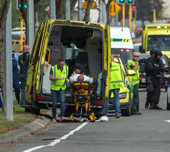 <p>An injured person is loaded in an ambulance following a shooting resulting in multiple fatalities and injuries at the Masjid Al Noor on Deans Avenue in Christchurch, New Zealand. EPA/Martin Hunter </p>