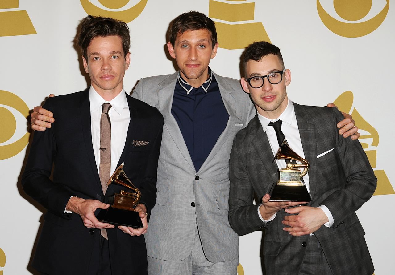 Nate Ruess, Andrew Dost, and Jack Antonoff of fun. pose in the press room during the 55th Annual GRAMMY Awards at STAPLES Center on February 10, 2013 in Los Angeles, California.  (Photo by Steve Granitz/WireImage)