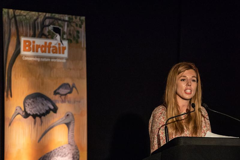 Carrie Symonds speaks during the 'State of the Earth - Question Time' at Birdfair (Getty Images)