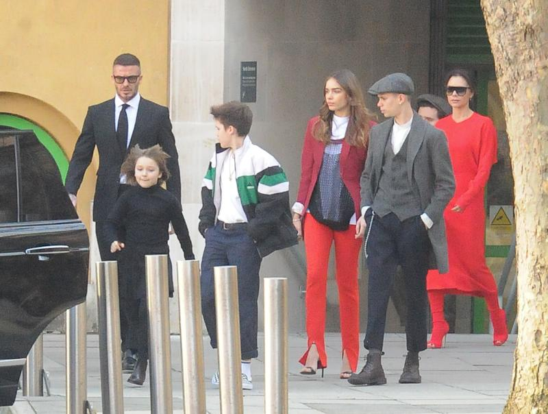 The Beckham family out and about.