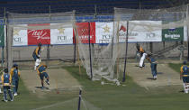 The Pakistan cricket team attend a practice session at National Stadium in Karachi, Pakistan, Monday, Jan. 25, 2021. Pakistan will play the first test match against South Africa on Jan. 26. (AP Photo/Fareed Khan)
