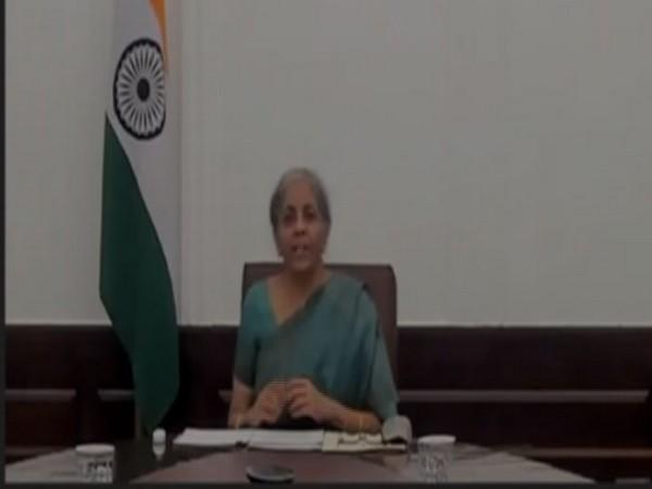 Union Finance Minister Nirmala Sitharaman speaking at Tech Spark 2020 on Wednesday. Photo/ANI
