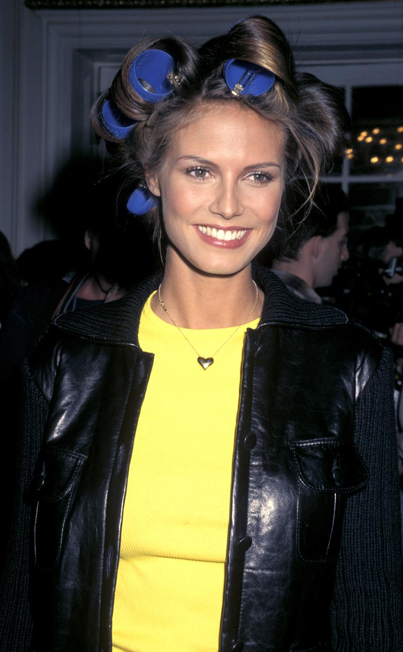 Heidi Klum backstage at the 1997 Victoria's Secret Fashion Show, inside the Plaza Hotel in New York.