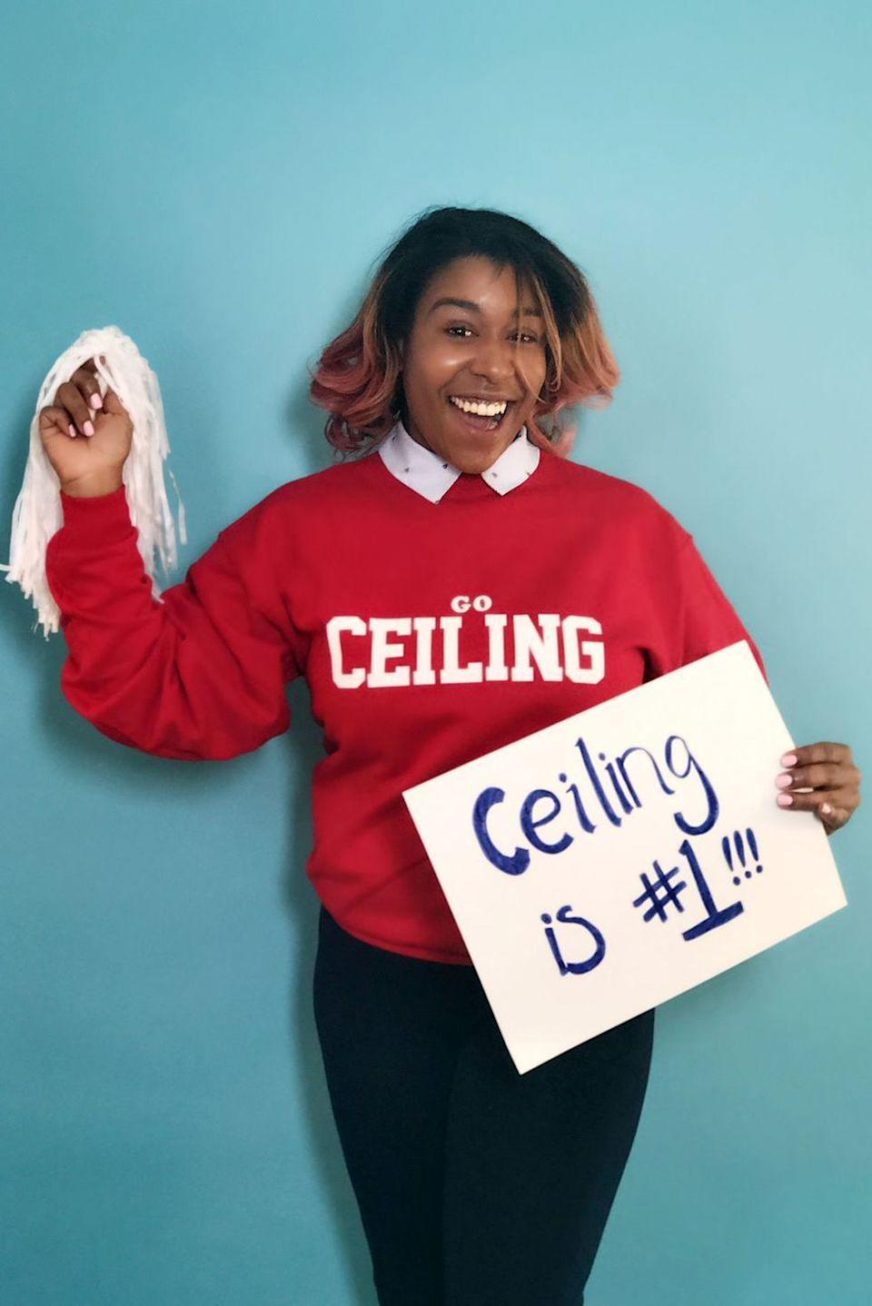 """<p>Another pun costume that'll steal the show: Add some school — er, ceiling — cheer with this sweatshirt and poster combo. Don't forget the pom poms!</p><p><a class=""""link rapid-noclick-resp"""" href=""""https://www.amazon.com/dp/B00524U8UQ/ref=twister_B07H8N816F?_encoding=UTF8&psc=1&tag=syn-yahoo-20&ascsubtag=%5Bartid%7C10055.g.2750%5Bsrc%7Cyahoo-us"""" rel=""""nofollow noopener"""" target=""""_blank"""" data-ylk=""""slk:SHOP POM POMS"""">SHOP POM POMS</a></p>"""