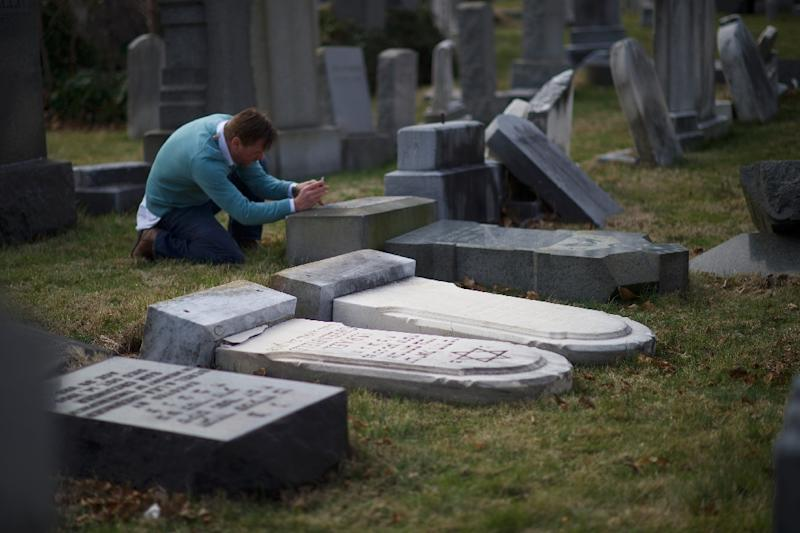 Jewish tombstones were vandalised at Mount Carmel Cemetery in Philadelphia, on February 27, 2017