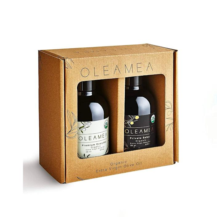 """A duo of organic olive oil is a no-fail gift—especially if you think about all the spice sets that end up at the back of the cupboard. RIP to those flavors. $30, Amazon. <a href=""""https://www.amazon.com/Oleamea-Organic-Harvest-Winning-Intensity/dp/B088MM9CRY/ref="""" rel=""""nofollow noopener"""" target=""""_blank"""" data-ylk=""""slk:Get it now!"""" class=""""link rapid-noclick-resp"""">Get it now!</a>"""