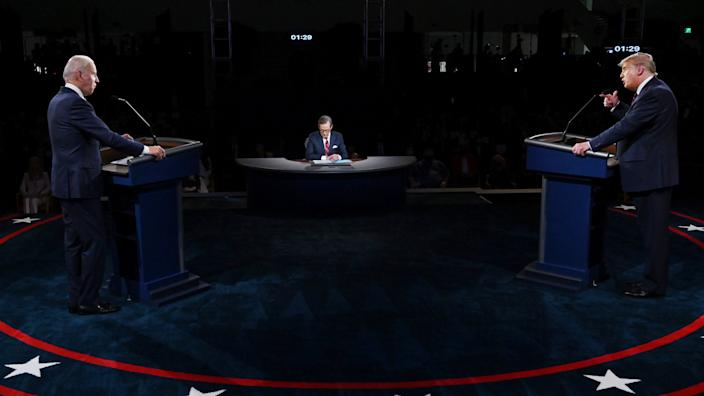 U.S. President Donald Trump (R) and former Vice President Democratic presidential nominee Joe Biden participate in the first presidential debate at the Health Education Campus of Case Western Reserve University on September 29, 2020 in Cleveland, Ohio. (Olivier Douliery-Pool/Getty Images)