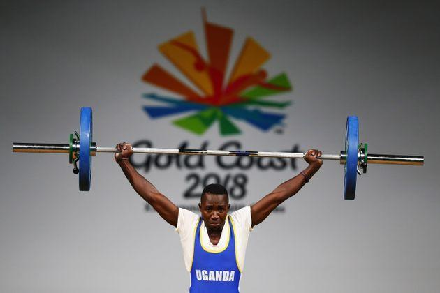 GOLD COAST, AUSTRALIA - APRIL 05:  Julius Ssekitoleko of Uganda competes during the Weightlifting Men's 56kg Final on day one of the Gold Coast 2018 Commonwealth Games at Carrara Sports and Leisure Centre on April 5, 2018 on the Gold Coast, Australia.  (Photo by Dean Mouhtaropoulos/Getty Images) (Photo: Dean Mouhtaropoulos via Getty Images)
