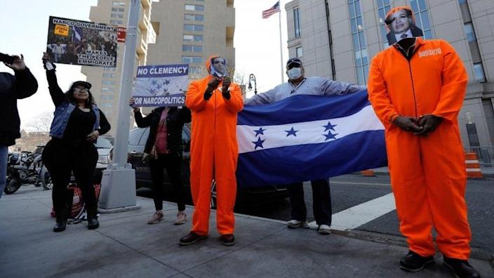 Proponents of justice in Honduras will meet outside the federal court in New York, USA on March 30, 2021. Former Honduras congressman Juan Antonio