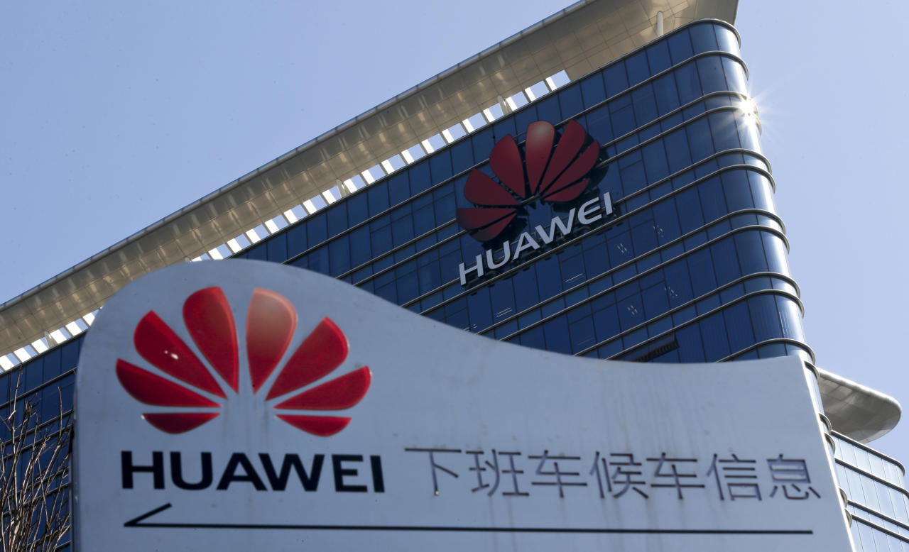 FILE - In this Tuesday, Dec. 18, 2018 file photo, The Huawei office building at its research and development centre at Dongguan in south China's Guangdong province. In a statement issues Thursday Jan. 17, 2019, Britain's Oxford University says it is suspending research grants and funding donations from Huawei amid growing security concerns about the Chinese telecom giant. (AP Photo/Andy Wong, FILE)