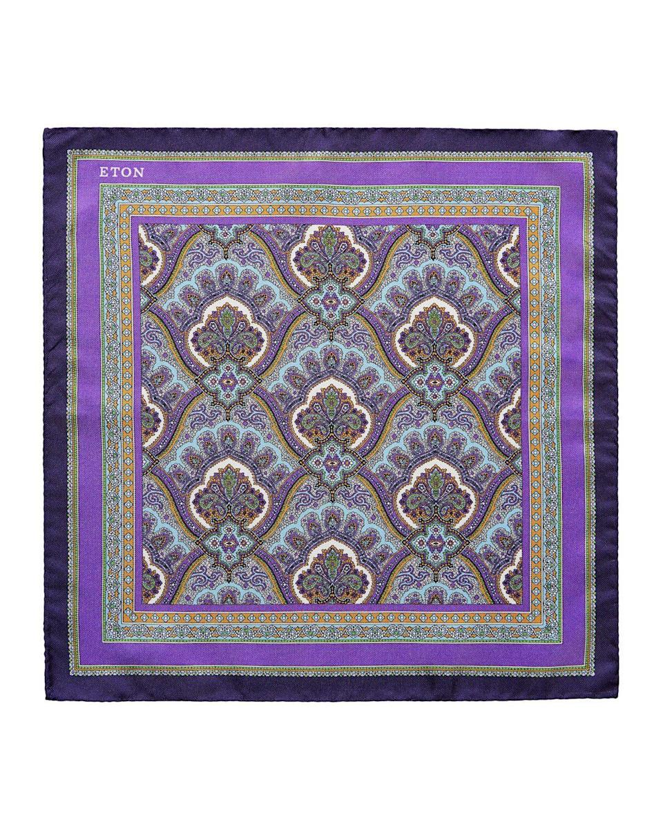 "<p><strong>Eton</strong></p><p>neimanmarcus.com</p><p><strong>$65.00</strong></p><p><a href=""https://www.neimanmarcus.com/p/eton-mens-silk-paisley-pocket-square-purple-prod223580203"" rel=""nofollow noopener"" target=""_blank"" data-ylk=""slk:Shop Now"" class=""link rapid-noclick-resp"">Shop Now</a></p><p>He will definitely make a princely statement with this paisley pocket square.</p>"