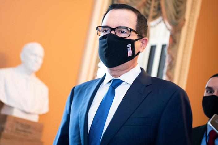 Treasury Secretary Steven Mnuchin arrives at the Capitol for a meeting with Senate Majority Leader Mitch McConnell about the COVID-19 relief plan, on Thursday, July 23, 2020. Mnuchin has been representing the White House in Capitol Hill negotiations. (Photo: Tom Williams via Getty Images)