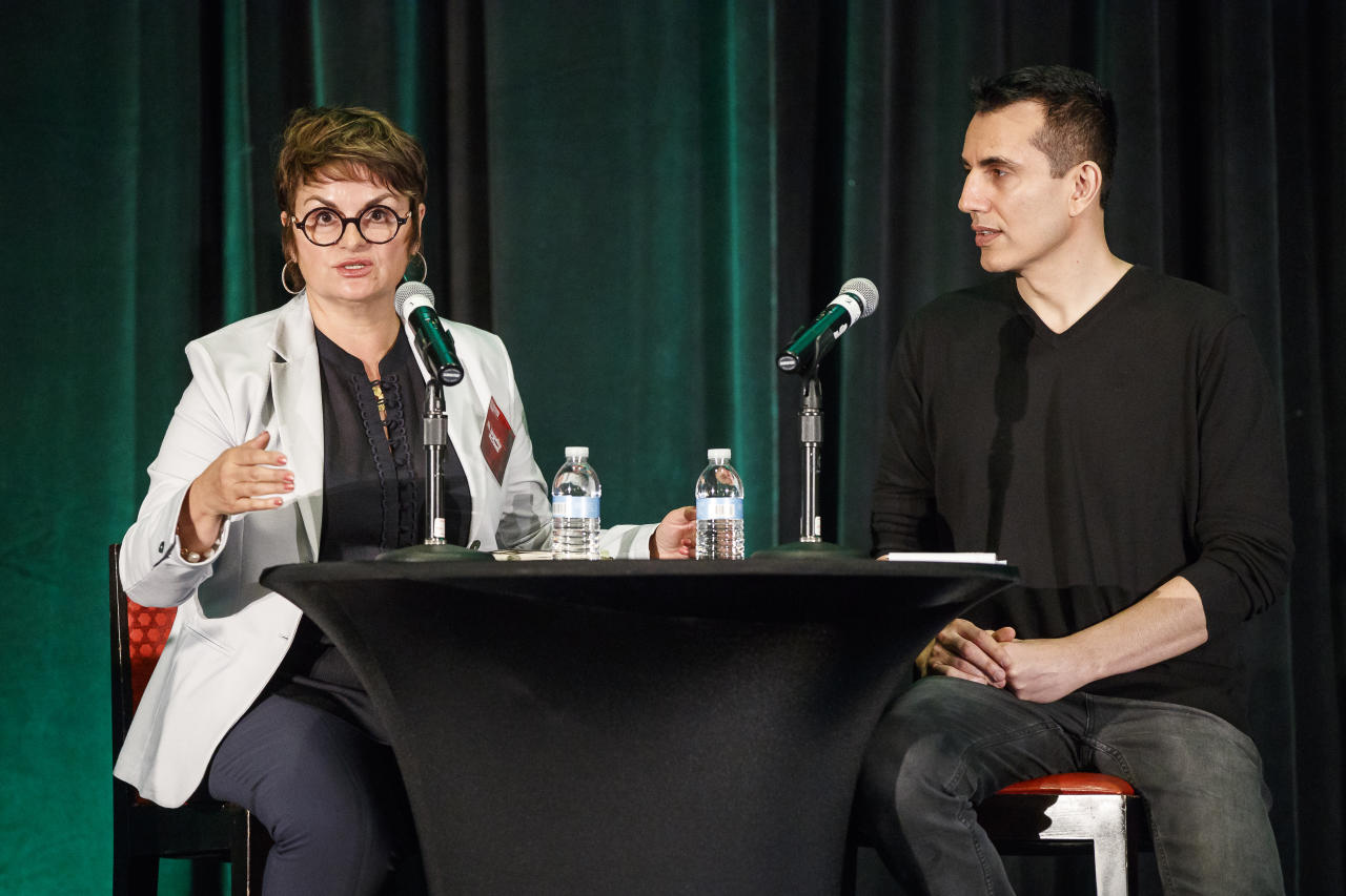 IMAGE DISTRIBUTED FOR AIDS HEALTHCARE FOUNDATION - Jacqueline McDowell with Cepheid (left) and Ramin Bastani, CEO, Healthvana (right) share innovative approaches to STD programs at the STD Emergency Call to Action Summit held at the Atlanta Airport Marriott Gateway Hotel on Monday, May 21, 2018 in Atlanta, hosted by AIDS Healthcare Foundation.(Paul Abell/AP Images for AIDS Healthcare Foundation)