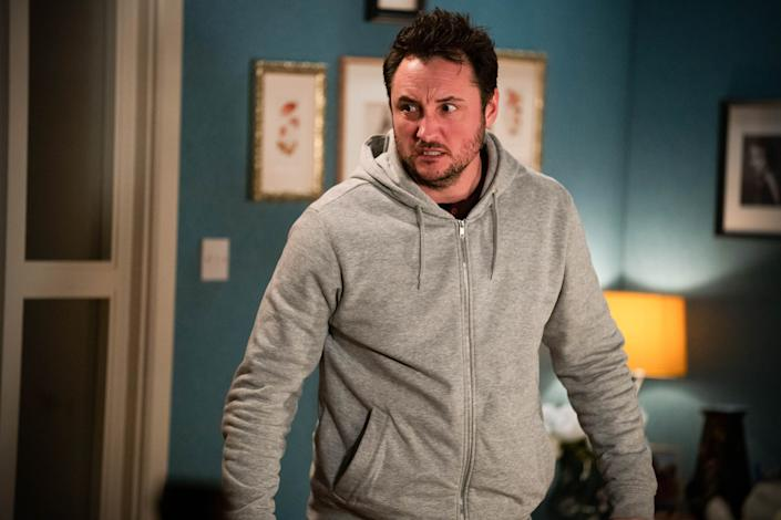 WARNING: Embargoed for publication until 00:00:01 on 23/02/2021 - Programme Name: EastEnders - January-March 2021 - TX: 02/03/2021 - Episode: EastEnders - January-March 2021- 6230 (No. 6230) - Picture Shows: ***EMBARGOED TILL TUESDAY 23RD FEBRUARY 2021*** Martin Fowler (JAMES BYE) - (C) BBC - Photographer: Kieron McCarron/Jack Barnes