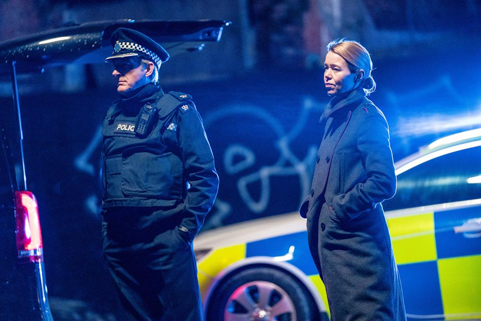 Programme Name: Line of Duty S6 - TX: 25/04/2021 - Episode: Line Of Duty - Ep 6 (No. n/a) - Picture Shows:  Superintendent Ted Hastings (ADRIAN DUNBAR), Carmichael (ANNA MAXWELL MARTIN) - (C) World Productions - Photographer: Steffan Hill