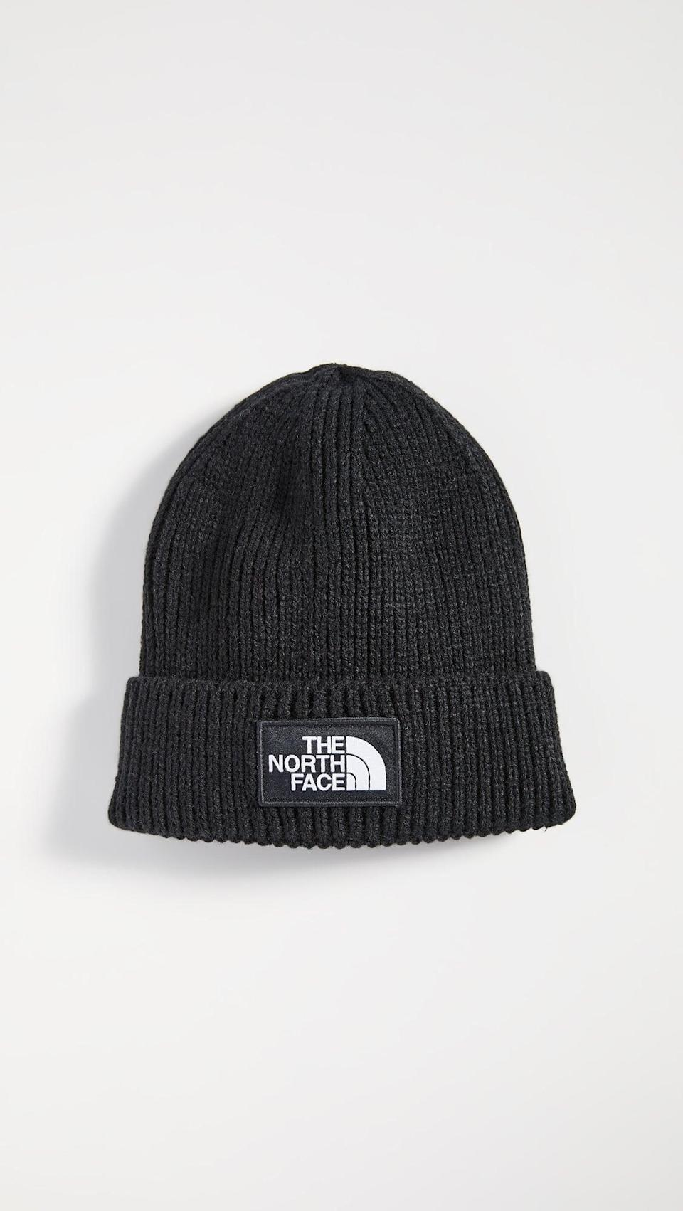 <p>He can stay warm in this <span>The North Face TNF Logo Box Cuff Beanie</span> ($29).</p>