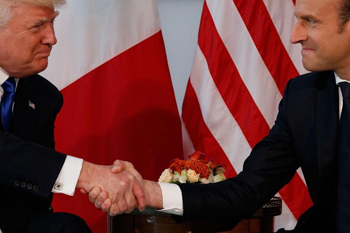 <p>President Donald Trump shakes hands with French President Emmanuel Macron during a meeting at the U.S. Embassy, Thursday, May 25, 2017, in Brussels. (Photo: Evan Vucci/AP) </p>