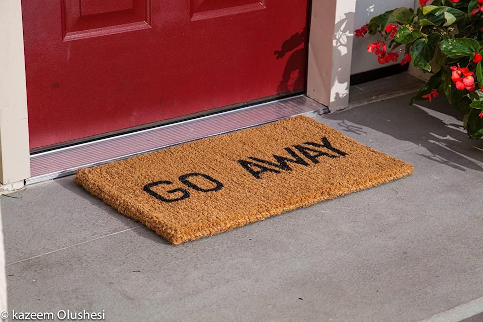 """<h2>Kempf """"Go Away"""" Straw Doormat<br></h2><br>Help your sassiest friend send a clear message with this cheeky doormat. <br><br><br><br><strong>Kempf</strong> """"Go Away"""" Doormat, $, available at <a href=""""https://www.amazon.com/dp/B000I1UYXO"""" rel=""""nofollow noopener"""" target=""""_blank"""" data-ylk=""""slk:Amazon"""" class=""""link rapid-noclick-resp"""">Amazon</a>"""
