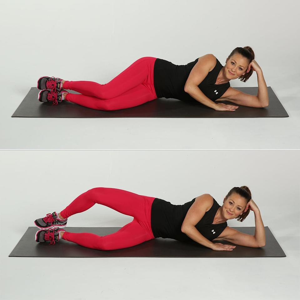 """<p>The clamshell strengthens your hip muscles and pelvic floor while (bonus!) balancing strength of inner and outer thighs, Bonney told POPSUGAR. """"This move is especially good for runners, as a lot of our ankle and knee alignment comes from the pelvis and hips being stable,"""" she said.</p> <ul> <li>Lie on your side with one leg stacked on top of the other in a position similar to the fetal position. Your knees should be bent at a 45-degree angle.</li> <li>Rest your head on your lower arm.</li> <li>Brace your abs or draw your belly button in toward your spine.</li> <li>Keeping your feet touching, raise the knee of your top stacked leg as high as you can. Be sure not to shift your hips or pelvis. Your lower leg should remain in contact with the floor.</li> <li>Pause for a one-count, then return your upper leg to the starting position (on top of the other leg).</li> <li>This completes one rep.</li> </ul>"""