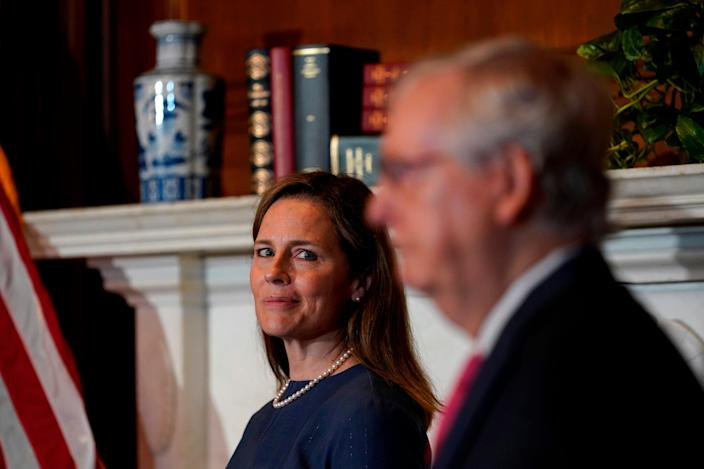 Supreme Court nominee Amy Coney Barrett and Senate Majority Leader Mitch McConnell on Sept. 29, 2020.