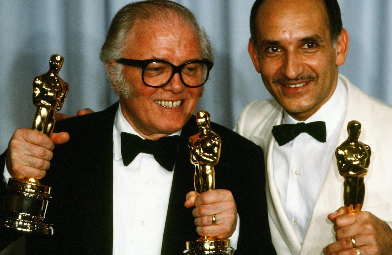 <p>Richard Attenborough poses with Ben Kingsley backstage after winning Best Director, Best Picture and Best Actor for <em>Gandhi</em> at the 55th Academy Awards. (Michael Montfort/Michael Ochs Archives/Getty Images) </p>
