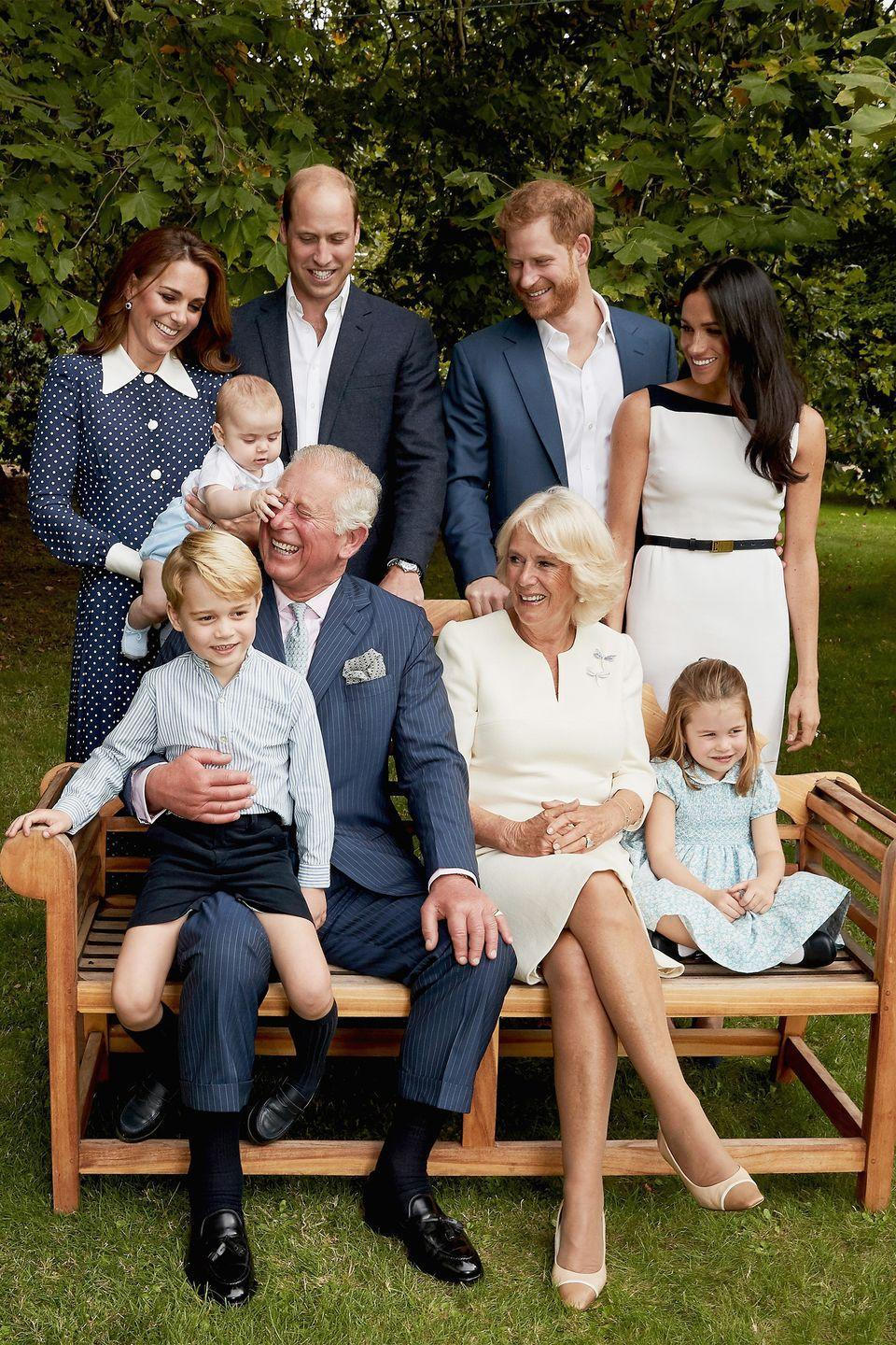<p>A heartwarming family portrait, including his sons, Prince William and Prince Harry, and their wives, Kate Middleton and Meghan Markle.</p>