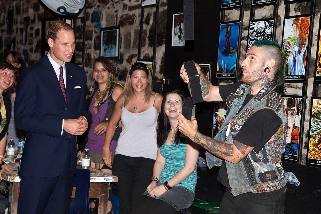 "Prince William probably doesn't bump into many juggling guys with Mohawks that often but, hey, there's a first time for everything! The impromptu entertainment took place on Sunday, during the Duke and Duchess of Cambridge's North American tour, when the newlyweds paid a visit to a youth shelter in Quebec City, Canada. Samir Hussein/<a href=""http://www.wireimage.com"" target=""new"">WireImage.com</a> - July 3, 2011"