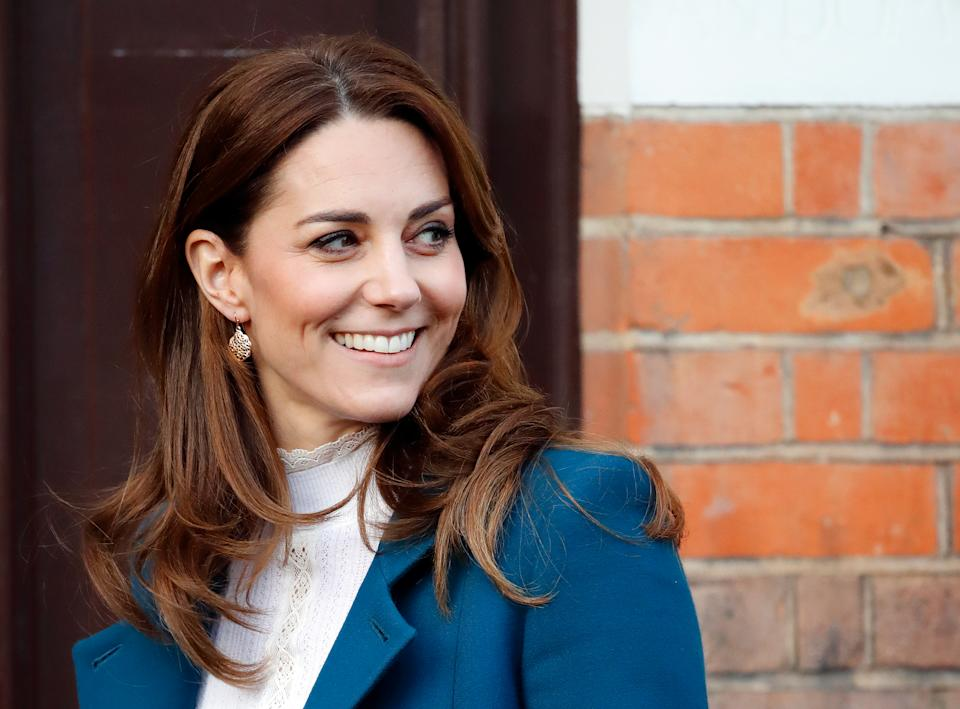 LONDON, UNITED KINGDOM - JANUARY 29: (EMBARGOED FOR PUBLICATION IN UK NEWSPAPERS UNTIL 24 HOURS AFTER CREATE DATE AND TIME) Catherine, Duchess of Cambridge visits LEYF (London Early Years Foundation) Stockwell Gardens Nursery & Pre-School on January 29, 2020 in London, England. The visit follows the launch last week by The Duchess of the survey '5 Big Questions on the Under Fives'.  (Photo by Max Mumby/Indigo/Getty Images)